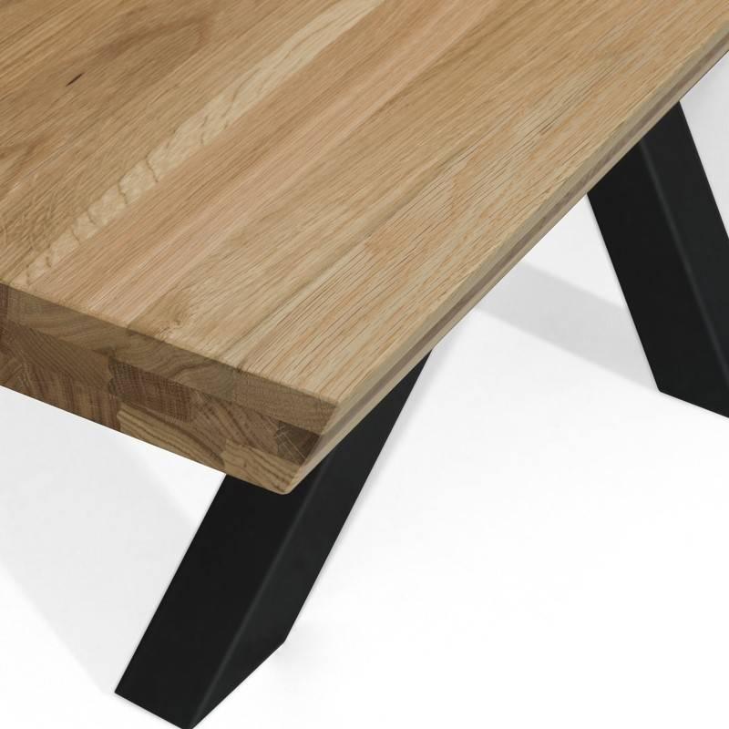 Table design chêne métal