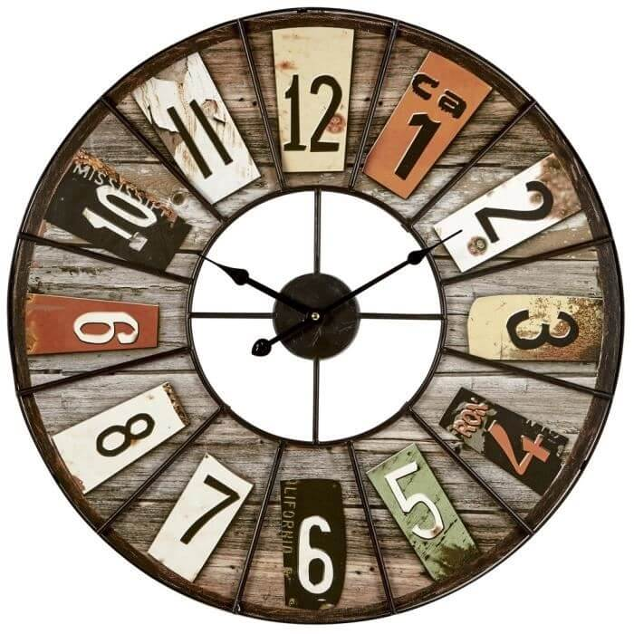 Horloge bois industrielle
