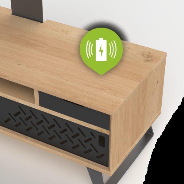 Meuble TV bois brut avec recharge
