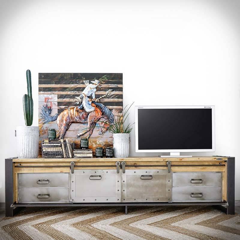 Meuble TV bois style industriel portes métal