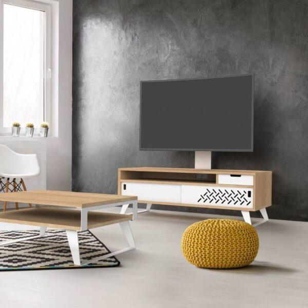 Meuble TV design en bois colonne et recharge