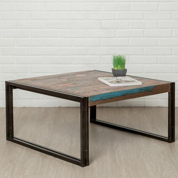 Table basse bois industrielle