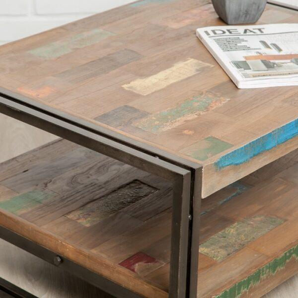 Table basse bois industrielle XL