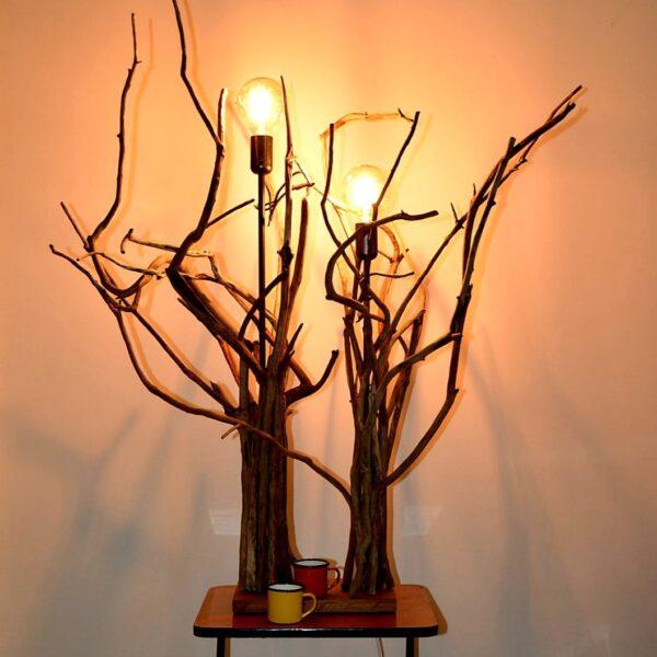 Objet de décoration en bois Lampe bois flotté led