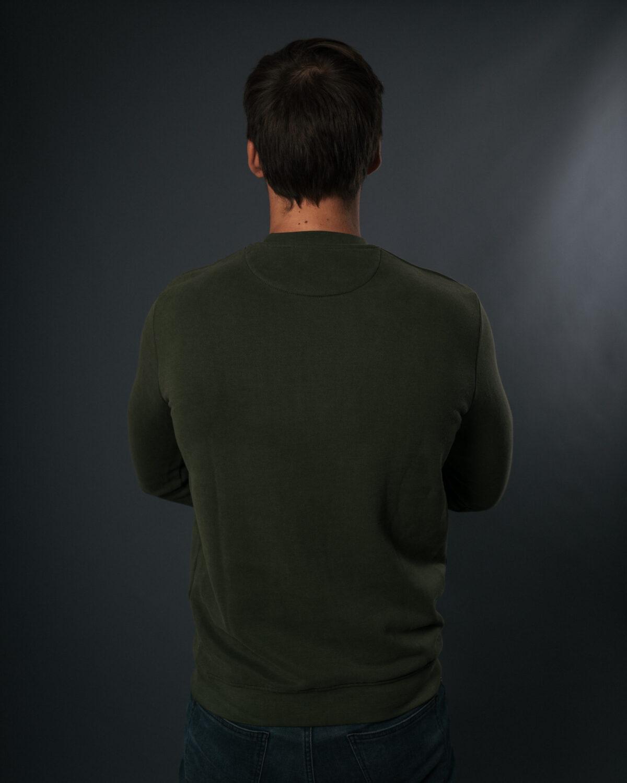 Sweatshirt en fibre bois kaki - logo orange