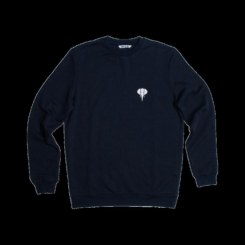 Sweatshirt fibre de bois bleu marine - logo blanc