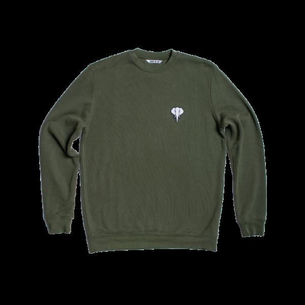 Sweatshirt fibre bois kaki - logo blanc