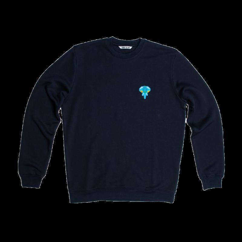 Sweatshirt fibre bois bleu marine - logo bleu