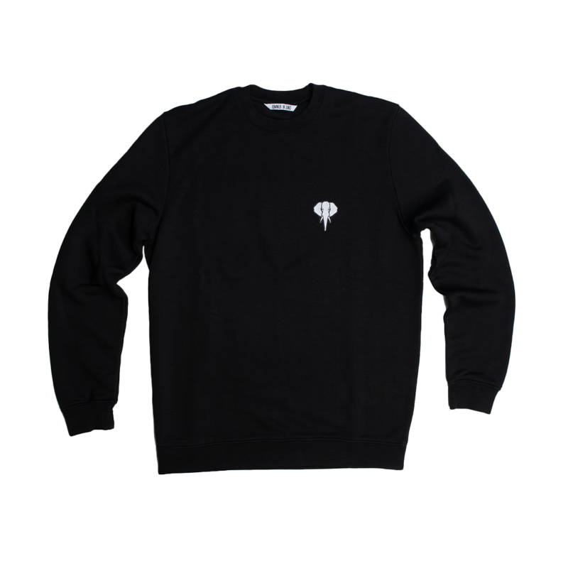 Sweatshirt fibre bois noir - logo blanc