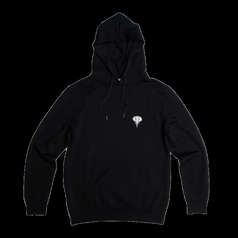sweat à capuche fibre de bois noir - logo blanc