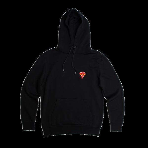 Sweat à capuche en fibre de bois noir - logo rouge