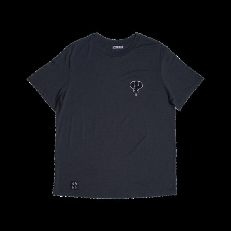 Tee shirt fibre de bois gris - logo noir