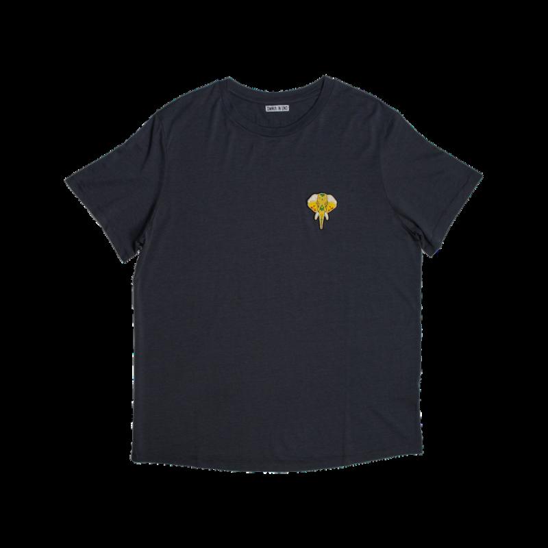Tee shirt en fibre de bois gris - logo or