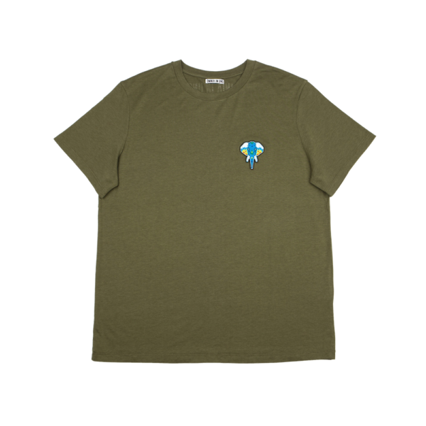 Tee shirt fibre de bois kaki - logo turquoise