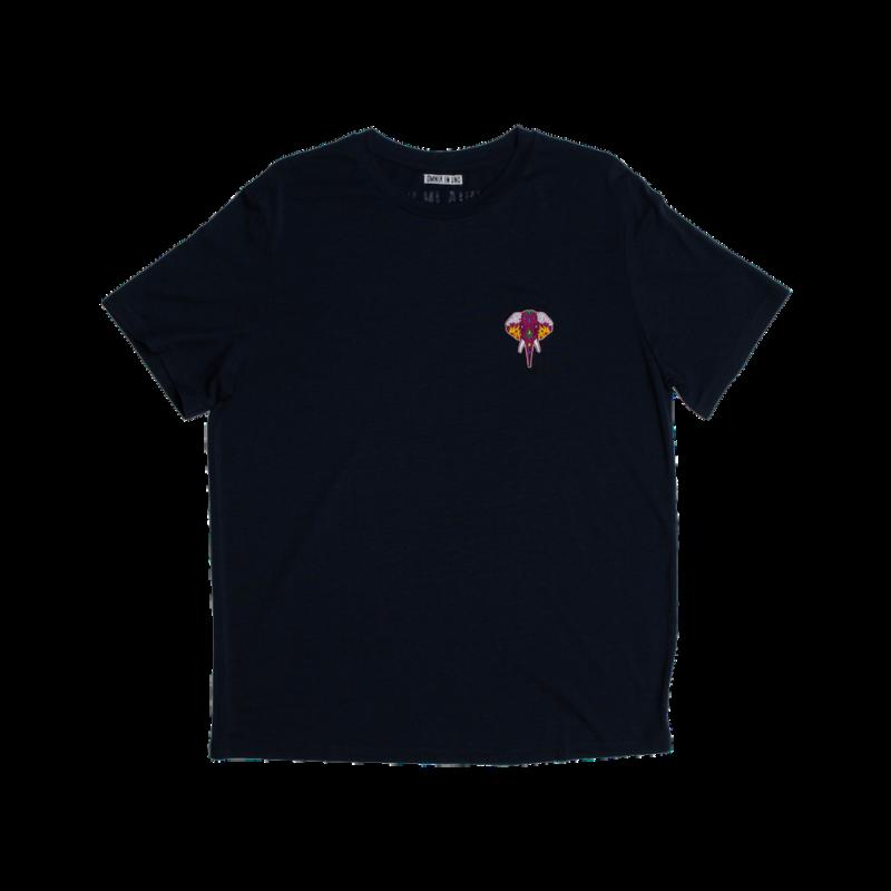 Tee shirt en fibre de bois bleu marine - logo bordeaux