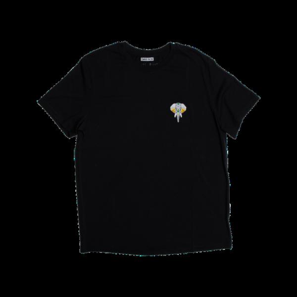 Tee shirt fibre de bois noir - logo argent