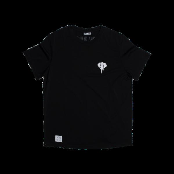 Tee shirt en fibre de bois noir - logo blanc